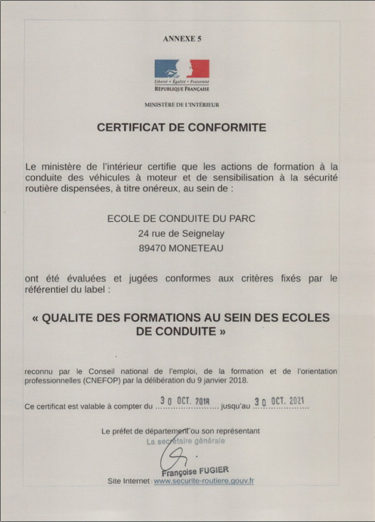 Certificat label qualité